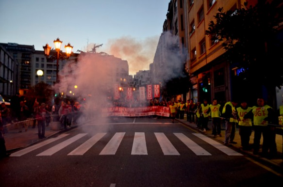 Cabecera de la manifestación. Imagen de Pablo Gómez