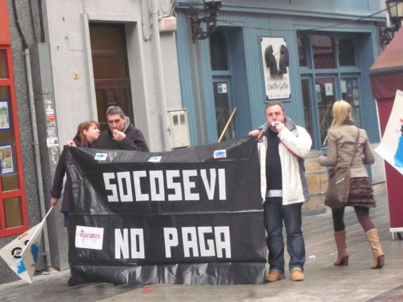 Manifestación en La Felguera de trabajadores de la empresa SOCOSEVI.