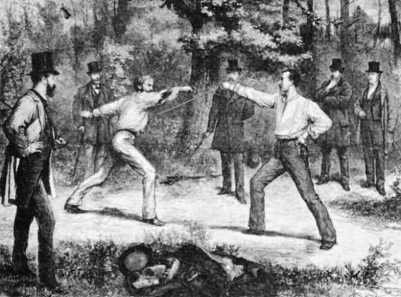 Duelo en el Bois de Boulogne en 1874.
