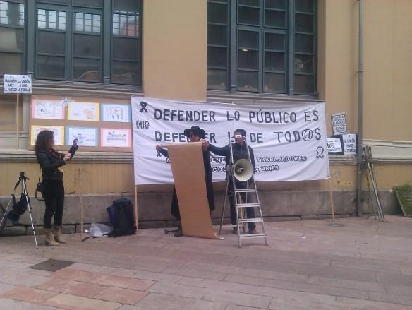 Un momento del acto reivindicativo celebrado en Mieres