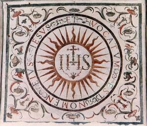 Una de las primeras versiones del sello en la Iglesia del Gesù. Imagen de la Wikipedia