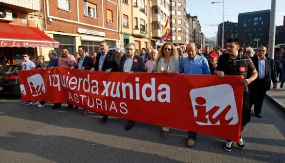 Autoridades de Izquierda Xunida, en la manifestación. Imagen de Pablo Lorenzana