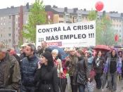 Un momento de la manifestación en La Felguera. Imagen de Bibiana Coto