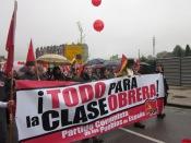 Pancarta del Partido Comunista de los Pueblos de España. Imagen de Bibiana Coto