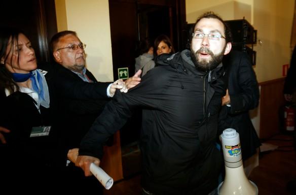 Emilio León, durante la protesta del pasado día 18. Imagen de Pablo Lorenzana