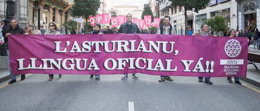La XDLA na manifestación pola oficialidá de la llingua celebrada'l mes de mayu pasáu.