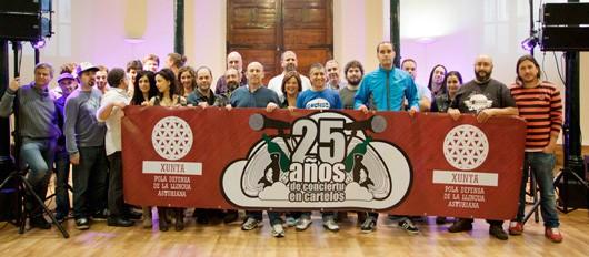 Dellos de los músicos que participaron en dalguna edición del Conciertu pola Oficialidá. Foto: Iván G. Fernández.
