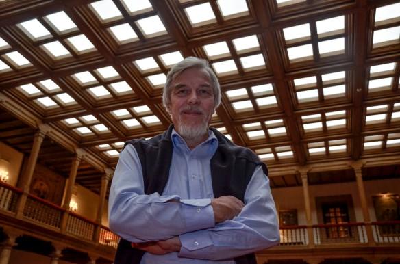 Rolf-Dieter Heuer, ayer, en el Hotel Reconquista. Imagen de Pablo Gómez